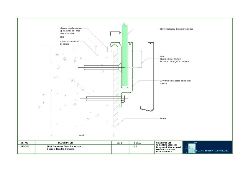 DWG GF101C 101 Frameless Glass Balustrade Channel